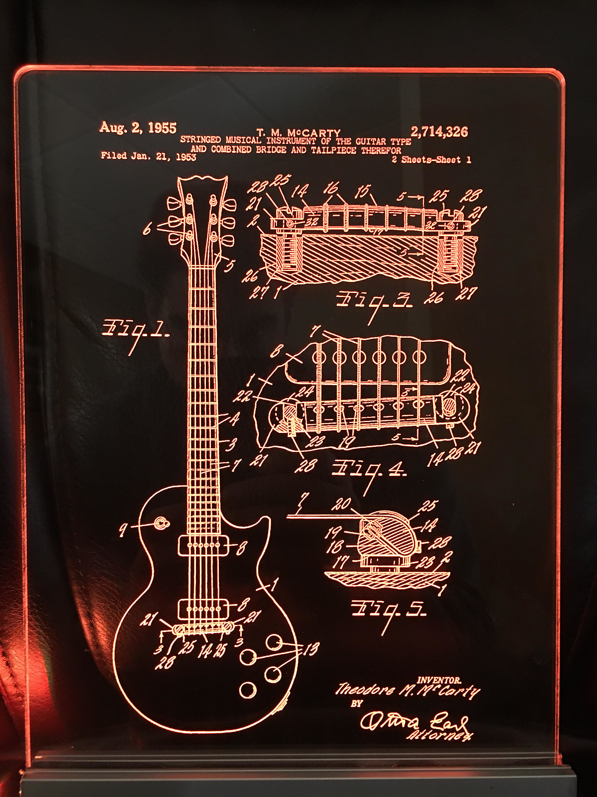 Gibson Les Paul Guitar Patent, Edge Lit Acrylic LED Sign Display, Laser  Engraved