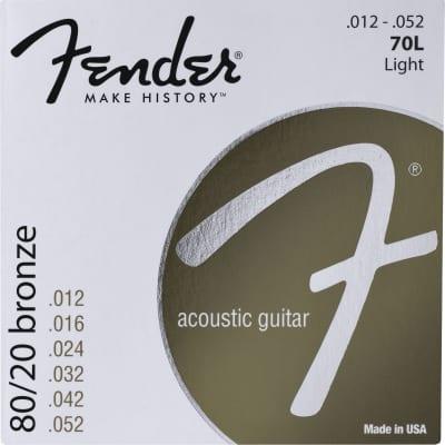 "Fender 730070403 70L 80/20 Bronze Light Acoustic Guitar Strings Set, .012""-.052"""