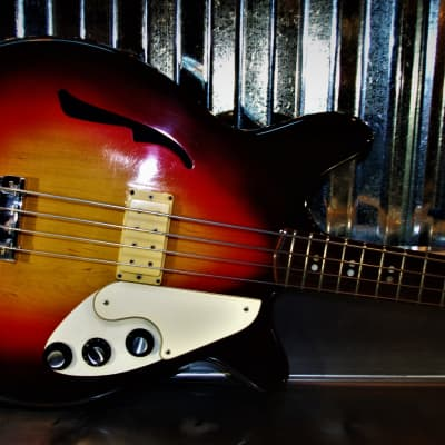 Micro-Frets Stage II 1969 Sunburst Bass Guitar. RARE. OHSC. Microfrets vintage guitar. Made in USA. for sale