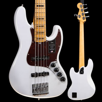 Fender American Ultra Jazz Bass V, Maple Fb, Arctic Pearl 754 10lbs 2.4oz for sale