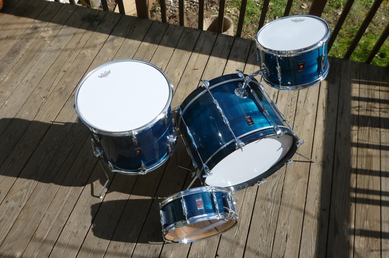 premier olympic 4 piece drum set african mahogany rare blue reverb. Black Bedroom Furniture Sets. Home Design Ideas