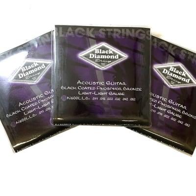 Black Diamond Guitar Strings 3 Pack Acoustic Light Light Black Coated 11-52