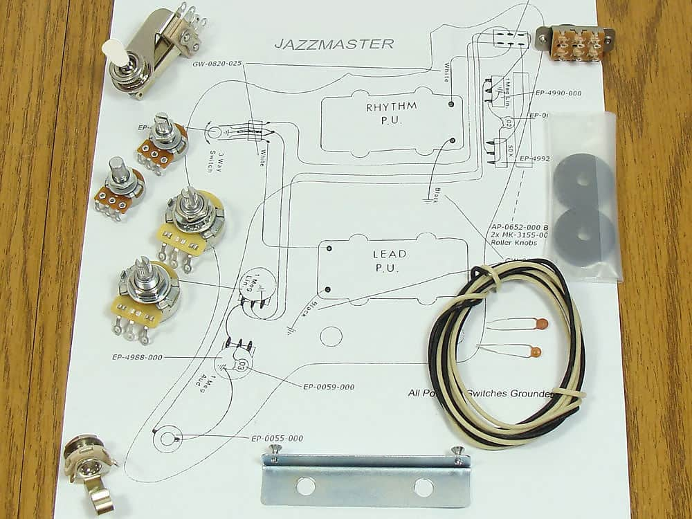 New Jazzmaster Pots Switch  U0026 Wiring Kit For Fender Guitar