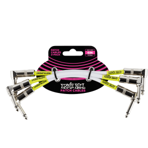 """Ernie Ball P06050 1/4"""" TS Right-Angle Patch Cables - 6"""" (3-Pack)"""
