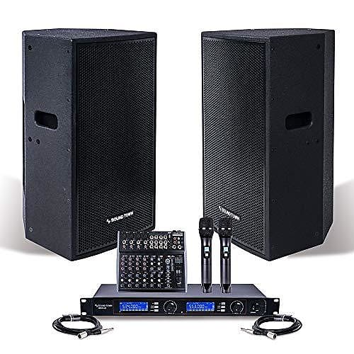 professional pa system with 12 powered pa speakers reverb. Black Bedroom Furniture Sets. Home Design Ideas