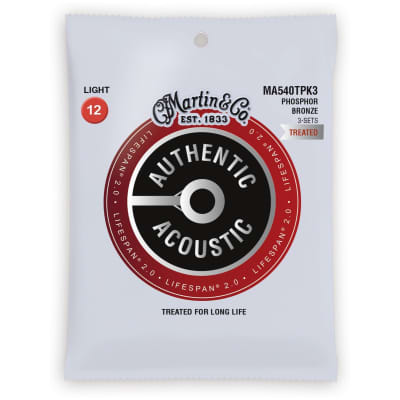 Martin Authentic Lifespan 2.0 Treated Phosphor Bronze Acoustic Guitar Strings, Light, MA540T