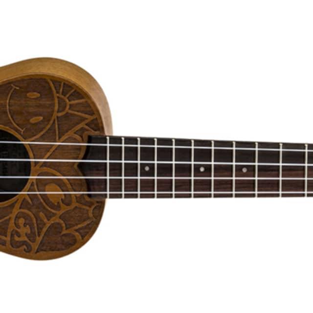 NEW! Luna Uke Mah Soprano etched 60's design ukulele uke pce peace image
