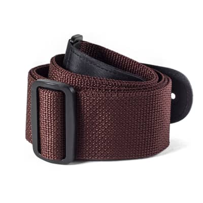 Dunlop D0701BR Brown Poly Strap with Leather Ends