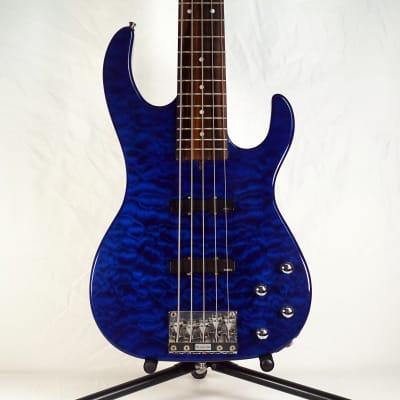 John Carruthers CB-5 Custom 5 String Bass V Blue Quilt Top w/ EMG Jazz Pickups & Hardshell Case for sale