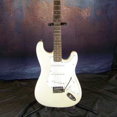 Lotus Stratocaster Syle Electric Guitar, 1990s, Metallic Pearl White
