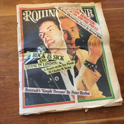 """Rolling Stone Magazine - Sex Pistols """"Rock is Sick and Living in London"""" - Issue 250, Oct. 1977"""
