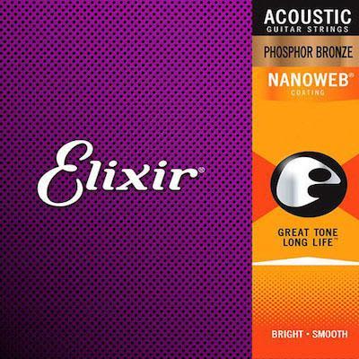 Elixir Phosphor Bronze Acoustic Strings Nanoweb Light Top Med Bottom 12 - 56