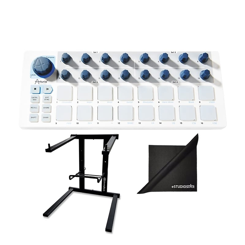 Arturia Beatstep MIDI Controller & Sequencer w/ AxcessAbles Laptop Stand  and eStudioStar Polishing Cloth
