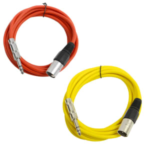 """Seismic Audio SATRXL-M10-REDYELLOW 1/4"""" TRS Male to XLR Male Patch Cables - 10' (2-Pack)"""