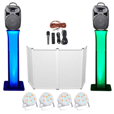 "DJ Package w/Dual 8"" Bluetooth Speakers+Mic+Tripod+Totem Stands+Facade+ Lights"