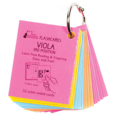 """Notes & Strings Notes & Strings Viola 3rd Position 2""""X2.5"""" Mini-On-A-Ring Size Laminated Flashcards"""