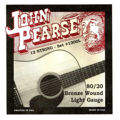 John Pearse 1300L Twelve String Guitar Strings - Bronze Wound Light