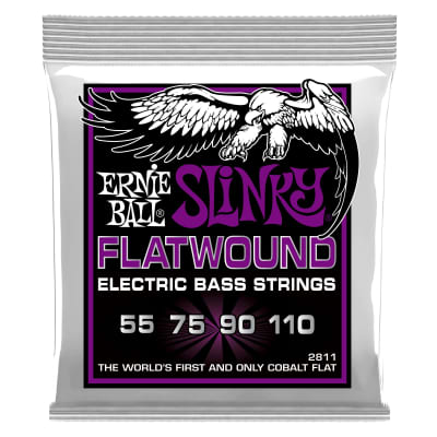 Ernie Ball 2811 Power Slinky Flatwound Electric Bass Strings, 55-110 Gauge