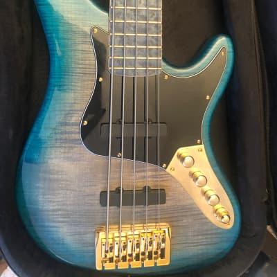Kiesel  JB 5 with aqua blue treated Birdseye fretboard 2020 Blue Aqua