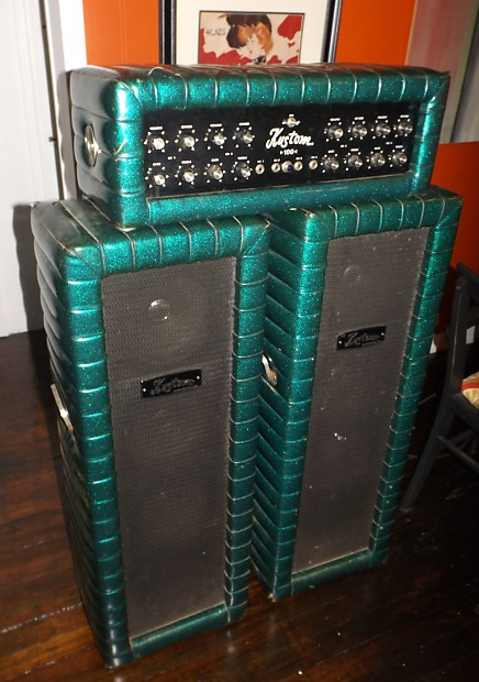 Vintage Kustom Quot Cascade Green Quot Sparkle Tuck Amp Reverb