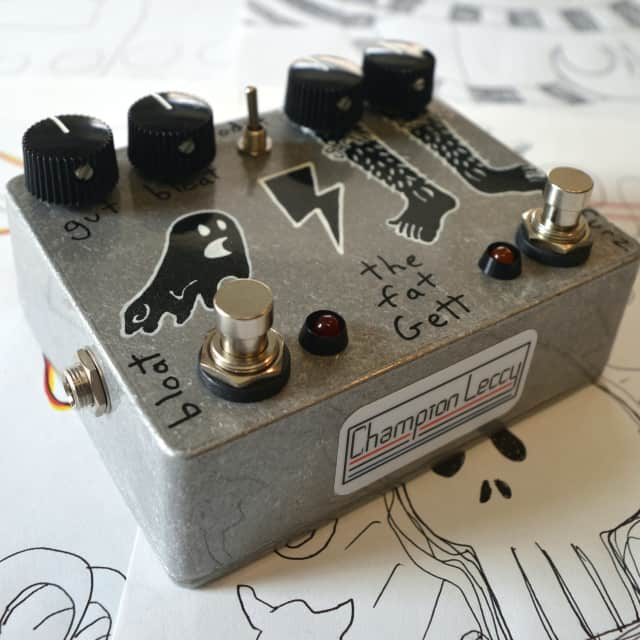 """The Fat Gett - glitchy suboctave harmonic craziness fuzz - hand painted """"cracked black pins & ghost"""" image"""