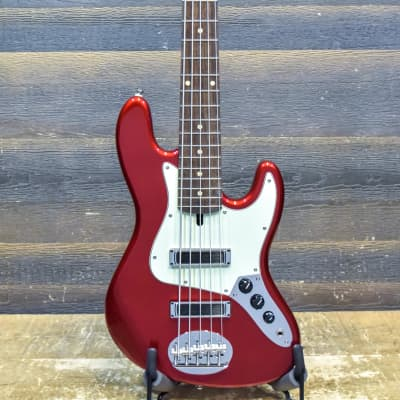 Lakland Skyline J Sonic 5-String Chi-Sonic Jazz Pickups Candy Apple Red Electric Bass