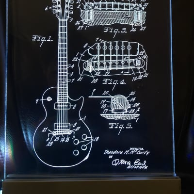 Gibson Les Paul Guitar Patent, Edge Lit Acrylic LED Sign Display, Figured Walnut,Laser Engraved