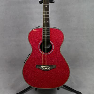 Daisy Rock Pixie Acoustic-Electric Guitar Pink Sparkle for sale
