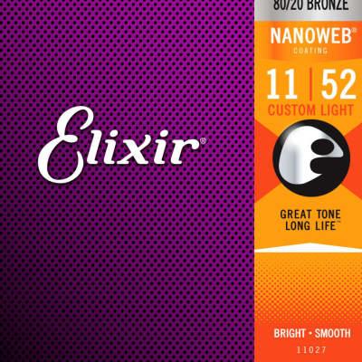 Elixir 11027 Nanoweb 80/20 Bronze Acoustic Guitar Strings - Custom Light (11-52)