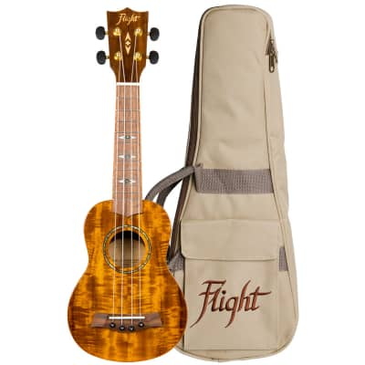 Flight Supernatural Series DUS445 Glossy Acacia Soprano Ukulele with Gig Bag for sale