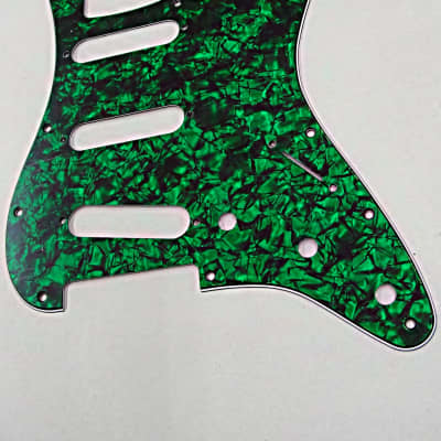 D'Andrea Pro Stratocaster Pickgaurd S/S/S 11 HOLE 4 Ply  Made in the USA  Green Pearl for sale