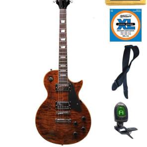 Oscar Schmidt Washburn Quilt-Top LP Style Guitar FREE STRINGS STRAP TUNER, OE20QTE PACK for sale