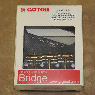 Gotoh BS-TC1S Chrome Finish Vintage Telecaster Bridge With In-Tune Brass Saddles Factory Packaging!