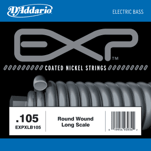 D'Addario EXPXLB105 EXP Coated Nickel Round Wound Bass Guitar Single String .105