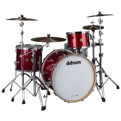 DDrum Dios 3pc 324 100% Maple Shell Pack in Red Cherry Sparkle Lacquer 13/16/24