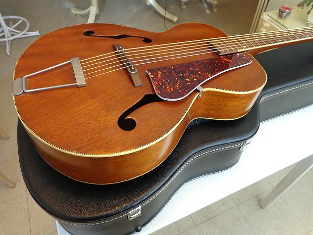 Kay Mahogany Archtop Guitar w New Case - Circa 1941 - No Brand Markings