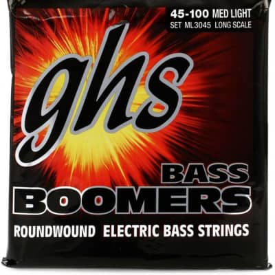 GHS ML3045 Bass Boomers 4-String Bass Set, Long Scale 45-100