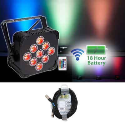 Rockville RGBWA+UV Battery Powered Wireless Wash Par DJ Up Light+Chauvet Cable