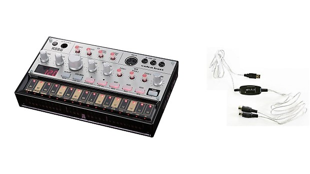 Korg Volca Bass w/ M-Connect MIDI to USB Cable Bundle