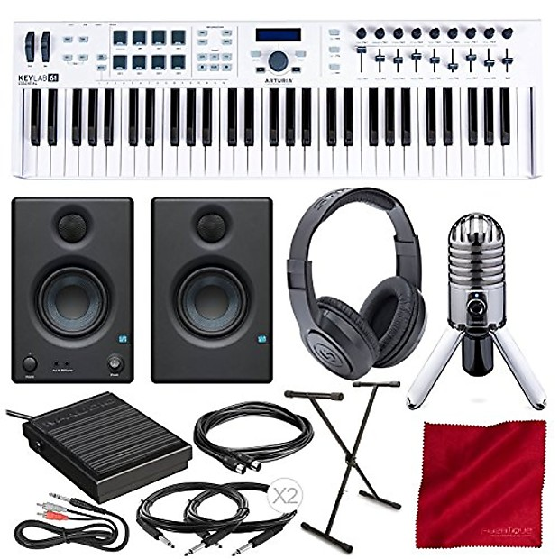 Arturia KeyLab Essential 61 Universal MIDI Controller and Software with  PreSonus Eris E3 5 Monitors, Samson Meteor Mic USB Microphone, Keyboard  Stand,