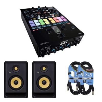 Reloop Elite Mixer + KRK RP5G4 Rokit 5 Generation 4 Powered Studio Monitor, Black, Pair and Cables.
