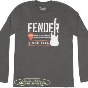 Fender Long-Sleeved Men Fender Industrial Logo Print T-Shirt 100% Cotton, Gray XX Large for sale