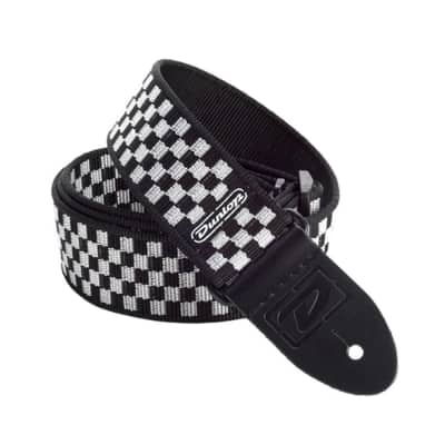Dunlop D38-31BK Black and White Checkered Adjustable Electric Guitar Bass Strap