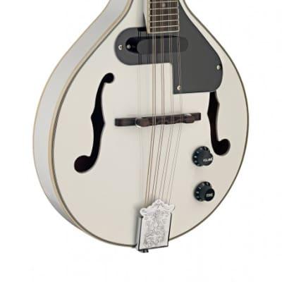 Stagg M50 E WH A Style Nato Neck Acoustic-Electric Bluegrass Mandolin w/Nato Top for sale