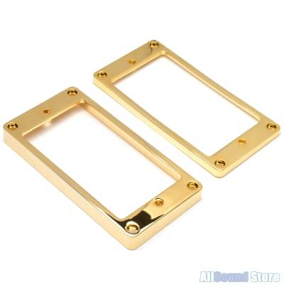 Metal Humbucker Pickup Ring Set SLANTED & FLAT Bottom for Flat Top Guitar GOLD