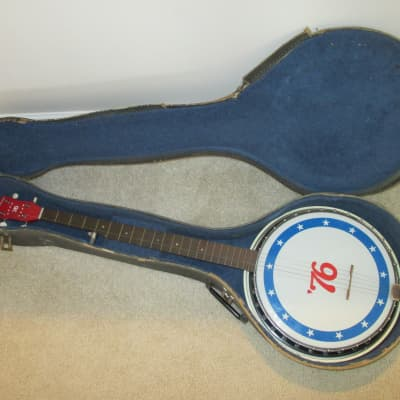 Harmony 1976 Bicentennial Banjo Red White And Blue With OSC for sale