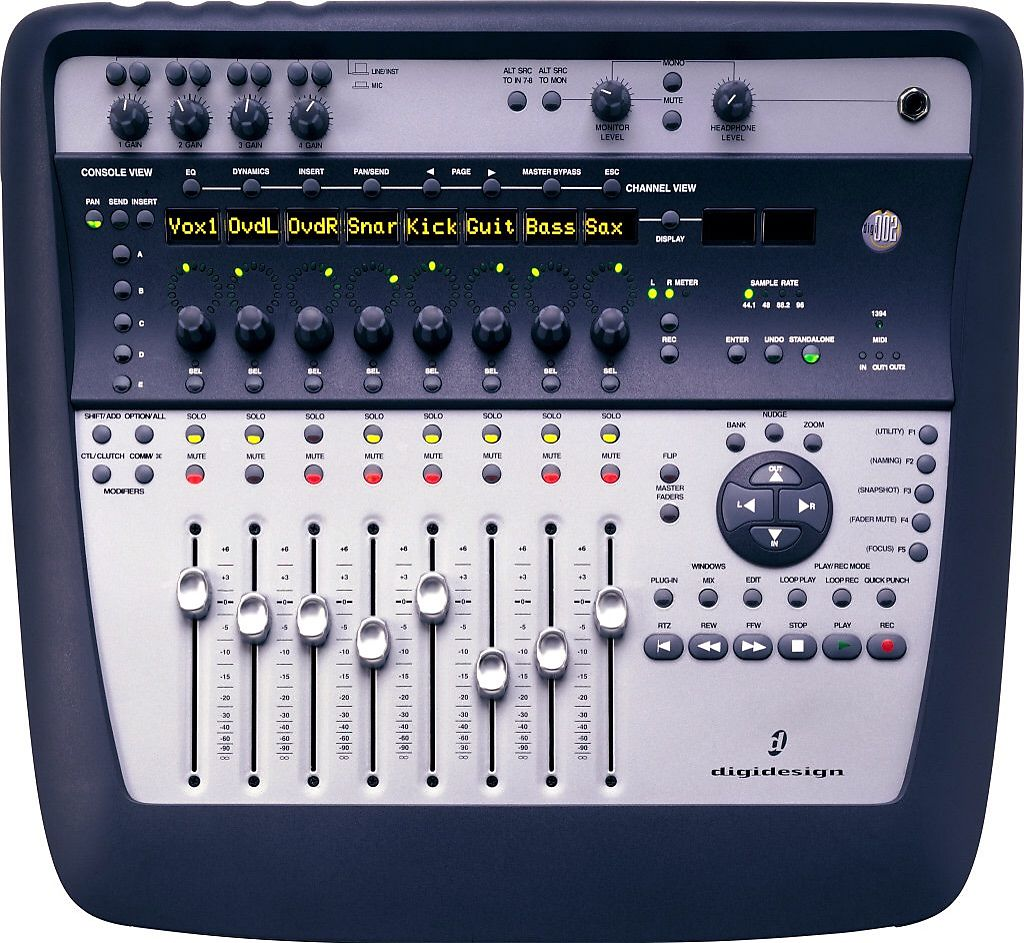 Digidesign 002 console firewire audio interface with for Firewire mixer motorized faders