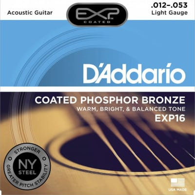 D'Addario EXP16 Coated Phos. Bronze Acoustic Strings, Light, 12-53