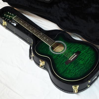 INDIANA Madison acoustic electric cutaway GUITAR new Trans Green w/ HARD CASE for sale