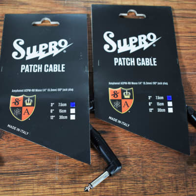 """Supro PC-3 1/4"""" TS Right-Angle Patch Cable - 3"""""""